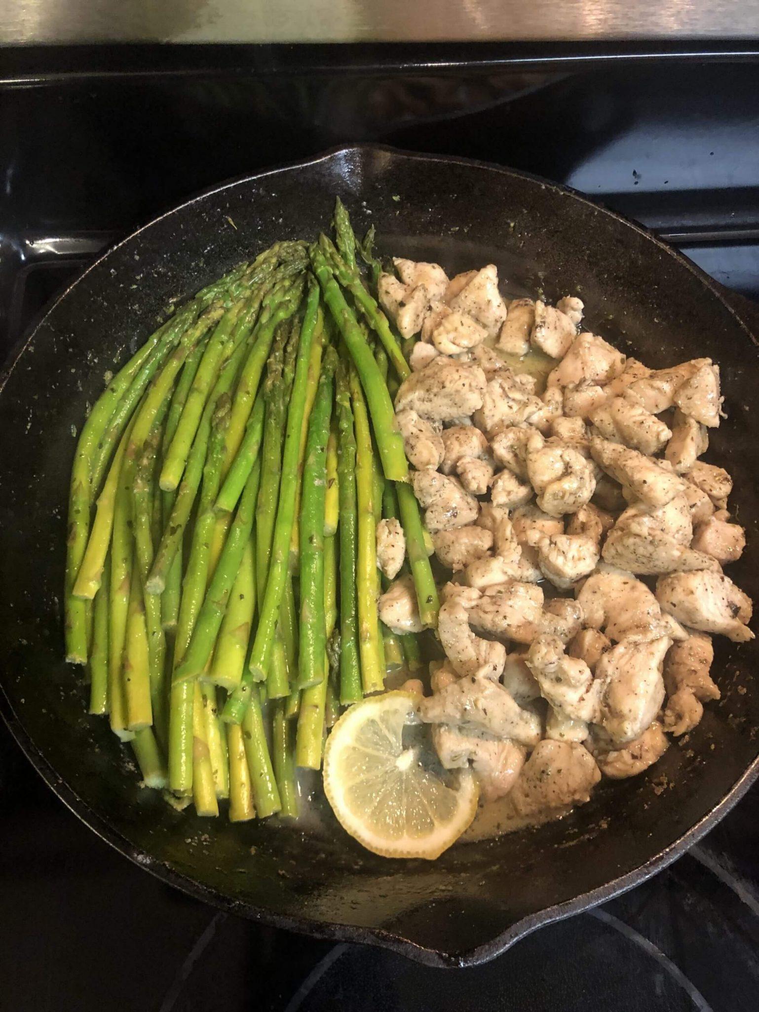 Garlic Butter Chicken & Lemon Asparagus Skillet